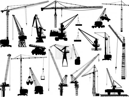 twenty building cranes on white