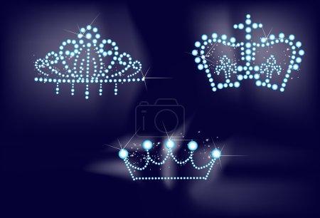 Illustration with three crowns on dark background...