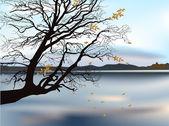 Autumn tree near lake illustration