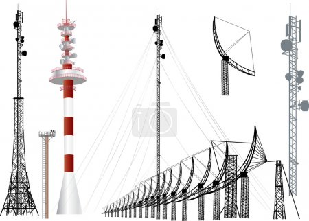 Collection of antenna silhouettes