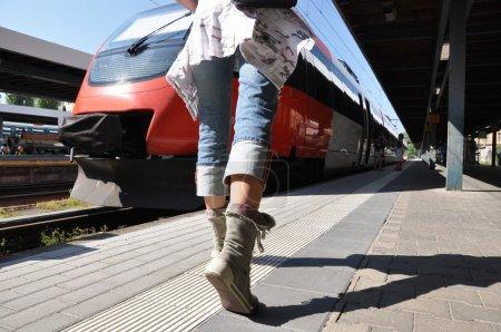 Girl rushing to the train