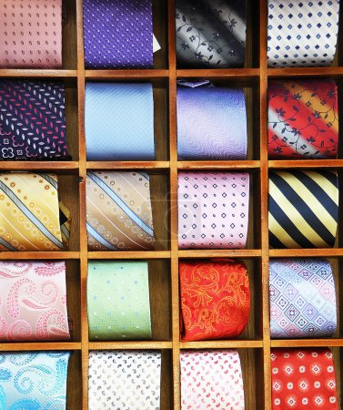 Photo for Ties on the shelf of a shop in Como region, Italy - Royalty Free Image
