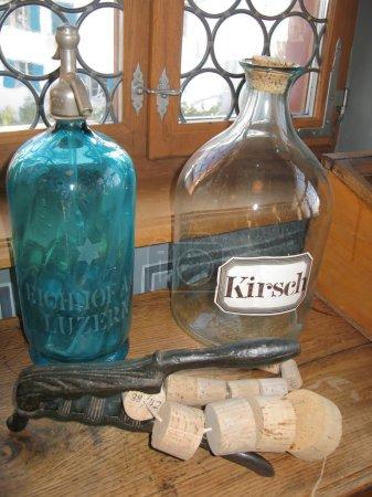 Empty bottles in old pharmacy