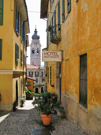 Narrow street of Menaggio, small town at the lake Como, Italy