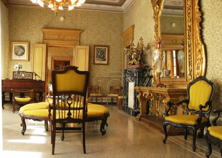 Interior of villa Monastero. Lake Como, Italy