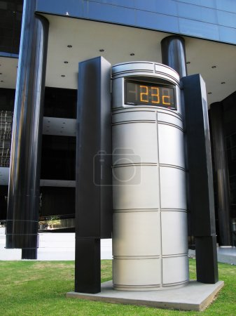 Thermometer by an office building