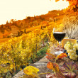 Glass of red wine on the terrace vineyard in Lavau...