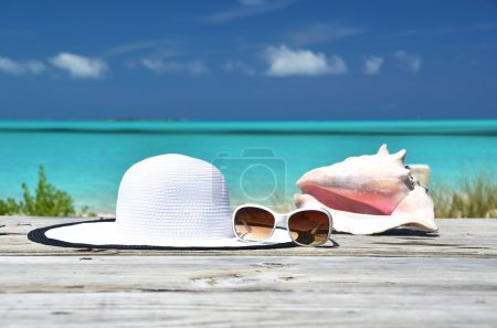 Photo for Sunglasses, hat and conch against ocean. Exuma, Bahamas - Royalty Free Image