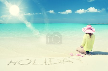 Girl relaxing on the beach