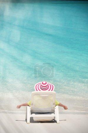 Photo for Girl on the beach of Exuma, Bahamas - Royalty Free Image