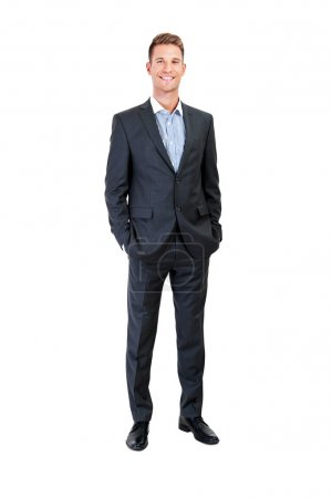 Full body portrait of happy smiling business man, isolated on wh