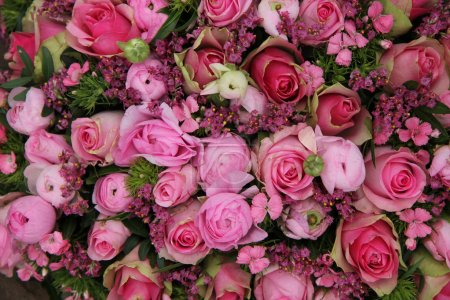 Photo for Floral arrangement in different shades of pink for a wedding - Royalty Free Image