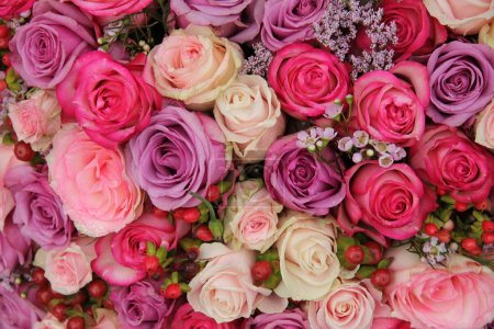 Photo for Wedding flowers: roses in various pastel colors - Royalty Free Image
