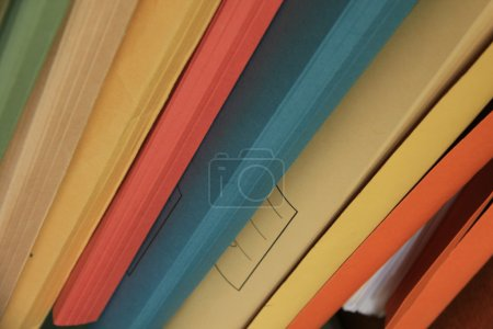 Photo for Stacked office files: pile of paperwork in an office - Royalty Free Image