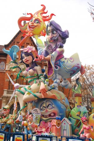 Typical falla at Fallas party on Valencia
