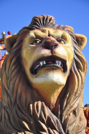 Traditional Three Kings Parade, detail Lion in Spain
