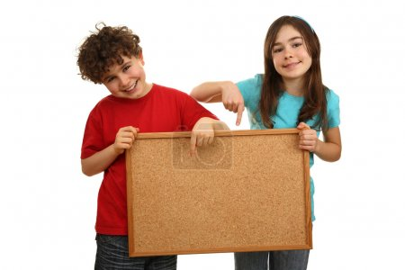 Kids holding noticeboard