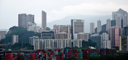 Photo for Hong Kong cityscape eith skyscrapers - Royalty Free Image