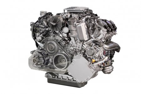 powerful car engine isolated on white