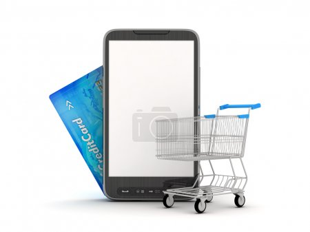 Online Shopping by mobile phone - concept illustration