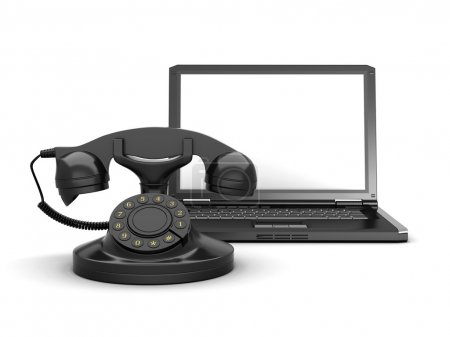 Rotary phone and laptop