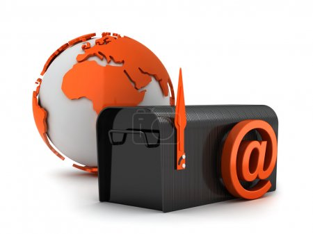 Mailbox, globe and e-mail sign