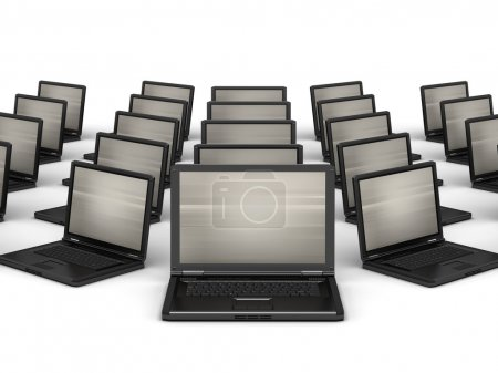 Many laptops on white background