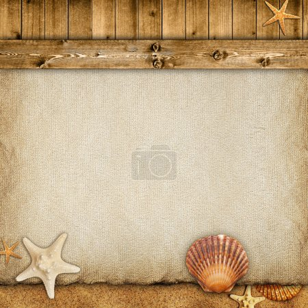 Summer background - paper sheet, planks, sand and shells