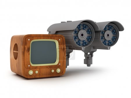 Modern surveillance camera and retro tv on white background