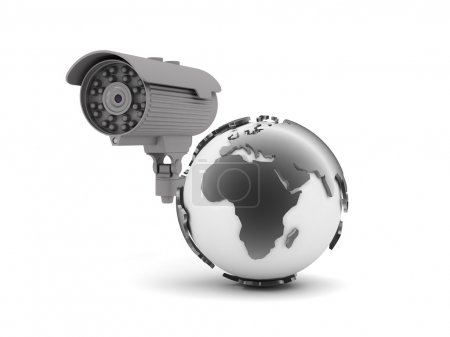 Security camera and earth globe on white background