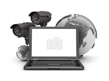 Security cameras, laptop and earth globe on white background
