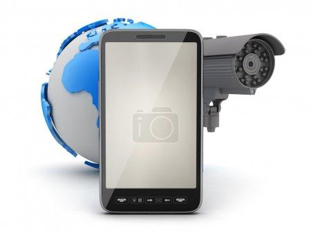Photo pour Caméra de sécurité, téléphone cellulaire et globe terrestre - image libre de droit