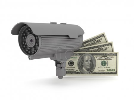 Security - video surveillance camera and dollar bills