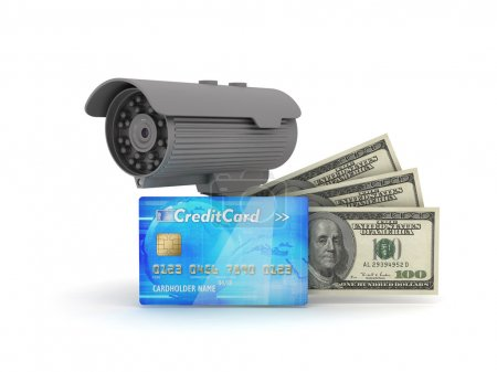 Video surveillance camera, credit card and dollar bills