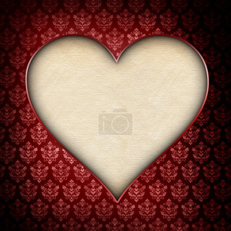 Valentines day background - heart on patterned background