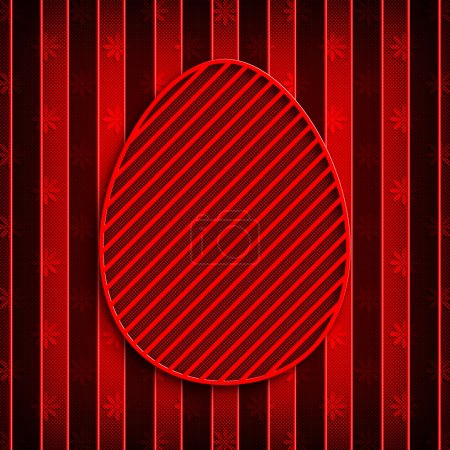 Photo for Happy Easter - red egg on patterned background - Royalty Free Image
