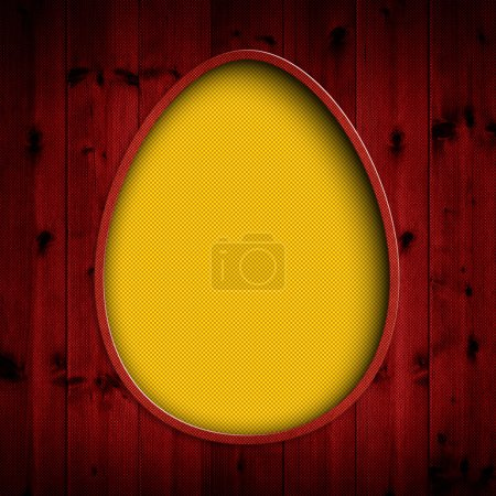 Happy Easter - yellow egg on red background