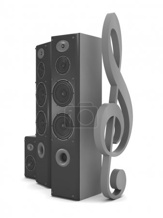 Large audio speakers and clef