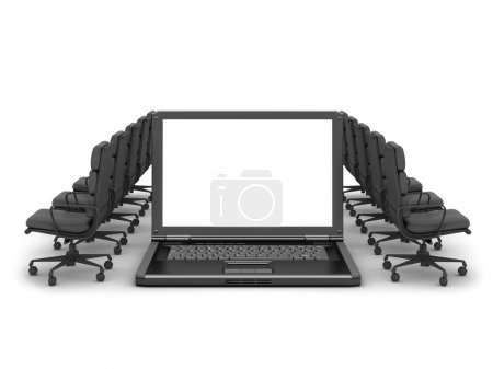 Personal computer (laptop) and row of office chairs