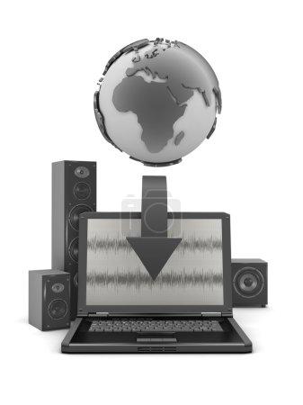 Photo pour Globe terrestre, ordinateur portable et grand système de son - image libre de droit