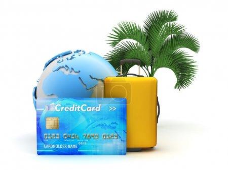 Photo pour Payez vos vacances tropicales par carte de crédit - illustration de concept - image libre de droit