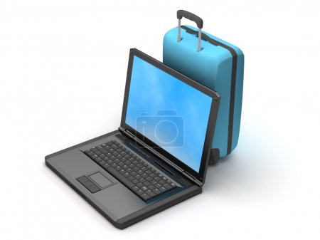 Laptop and blue suitcase on white background