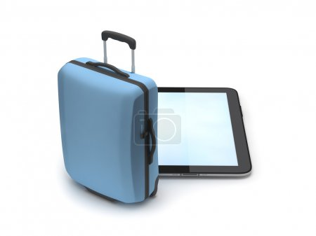 Tablet computer and blue travel bag isolated on white