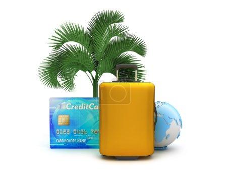 Photo pour Valise, palmier, carte de crédit et globe terrestre - image libre de droit