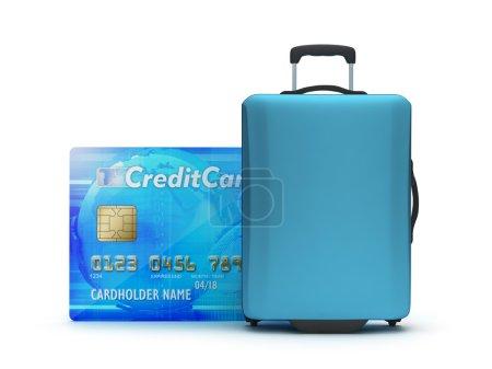 Photo pour Sac de voyage et carte de crédit sur fond blanc - image libre de droit