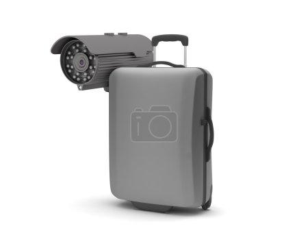 Photo pour Sécurité - caméra de surveillance vidéo et valise - image libre de droit