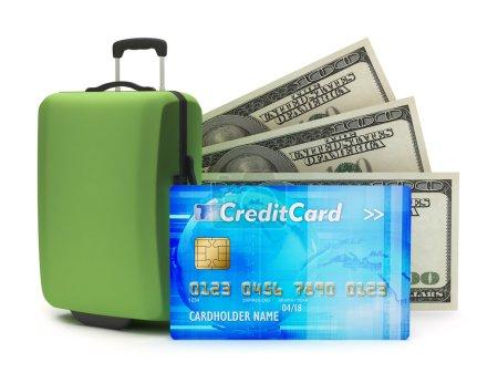 Photo pour Carte de crédit, sac de voyage et billets en dollars - image libre de droit