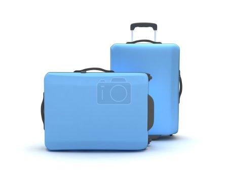 Photo pour Deux valises sur fond blanc - image libre de droit