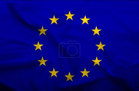 Photo for Waving flag of EU. Flag has real fabric texture. - Royalty Free Image