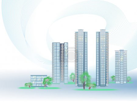 Illustration for Vector illustration with five modern city buildings and trees - Royalty Free Image